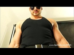 BIG HUNK SOLDIER EXCERCISES, TRAMPLES ON SLAVE AND BOXING