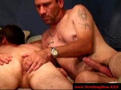 Three straight bears enjoy hard anal toying