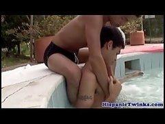Latin twink bareback fucking in spa