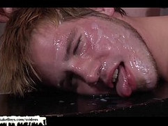 Blonde twink gets his ass pounded - Bukkake Boys