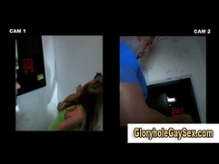 Gay bj for straighty at gloryhole