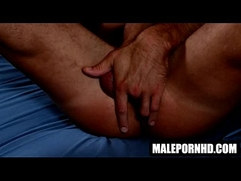 Hot solo hunk fingers his ass and masturbates