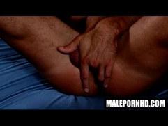 Hot solo hunk fingers his ass and masturbates